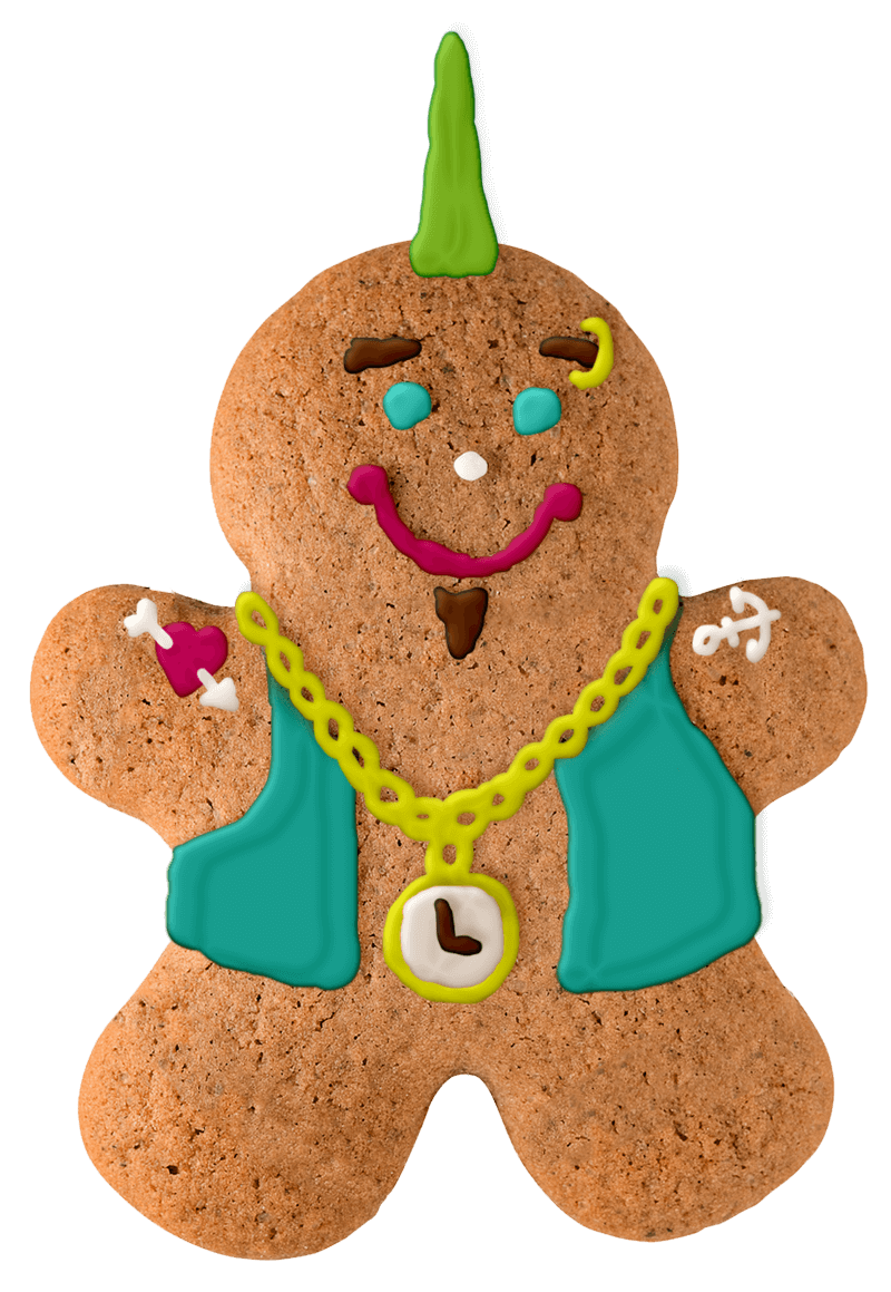 Gingerbread man with edgy icing